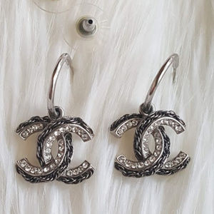 Chanel dangle CC crystal chain earrings, silver.